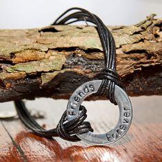 Leather Friends Forever Bracelet Friend Bracelets, Swarovski Jewelry, Friends Forever, Silver Bracelets, Washer Necklace, Leather, Gold, Gifts, Silver Cuff Bracelets