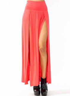 double-slit-maxi-skirt BLACK BURGUNDY CORAL DKGREY DKPEACH HGREY MOCHA OLIVE RED TAUPE TEAL - GoJane.com