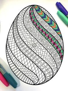 Swirl Easter Egg PDF Zentangle à colorier - Coloring Pages Coloring Pages For Grown Ups, Free Adult Coloring Pages, Coloring Pages To Print, Free Printable Coloring Pages, Coloring For Kids, Coloring Book, Easter Coloring Pictures, Easter Egg Coloring Pages, Designs To Draw