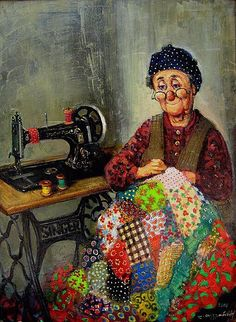 A lady busy sewing a patchwork quilt beside a wonderful Singer machine Quilting Quotes, Images Vintage, Vintage Quotes, Illustration Art, Illustrations, Antique Sewing Machines, Crafts With Pictures, Alphonse Mucha, Sewing Art
