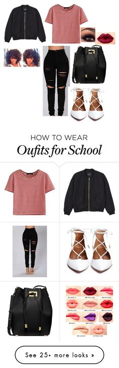 """School Outfit Today❤"" by whotiera on Polyvore featuring Michael Kors, WithChic, Monki and NYX"