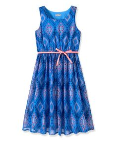 Loving this Provence Blue Tribal Pleated Dress - Toddler & Girls on #zulily! #zulilyfinds