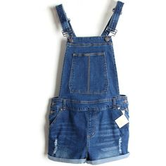LUCLUC Dark Blue Detachable Straps Mid-waisted Suspender Playsuits (£33) ❤ liked on Polyvore featuring jumpsuits, rompers, shorts, overalls, dresses, playsuit romper, blue romper, blue bib overalls, bib overalls and blue rompers