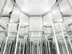 """While we wait with bated breath for Hedi Slimane's first collection to hit stores next January, here's a glimpse of his first """"Saint Laurent"""" concept store in Shanghai, set to open today. Saint Laurent Paris, Saint Laurent Store, St Laurent, Ysl Store, Paris Store, Mirror Maze, Mirror Effect, Mirror Mirror, Magic Mirror"""