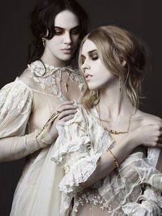 """suicideblonde: """" Jessica Brown-Findlay and Mary Charteris photographed by Alex Sainsbury for Dominic Jones Jewelry, Fall/Winter 2012 This looks like the cover of a lesbian vampire novel THAT I TOTALLY. Jessica Brown Findlay, Dracula, Vampires, Poses, Mode Baroque, Foto Glamour, Dark Fantasy, Carmilla, Romanticism"""