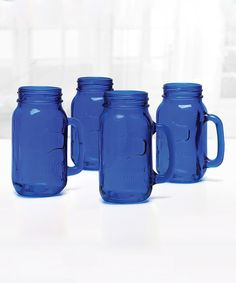 Look at this Cobalt Blue Yorkshire Mason Jar Mug - Set of Four on #zulily today!