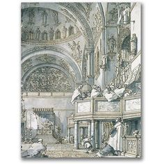 Trademark Fine Art The Choir Singing At St. Mark's Canvas Wall Art by Canatello, Size: 18 x 24, Multicolor