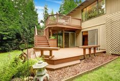 Two-Level Deck with Minimalist Landscaping