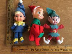 Vintage 1950's christmas elf ornaments retro xmas by ValorVintage