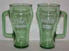 Set of 2 Green Glass Mugs Handle Coca Cola Cowboy Enjoy Coke Whataburger Glasses