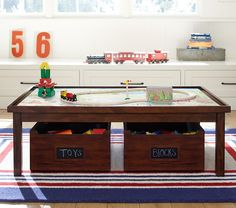 PBK train table with storage may be the best one we've found, designed to grow with you.
