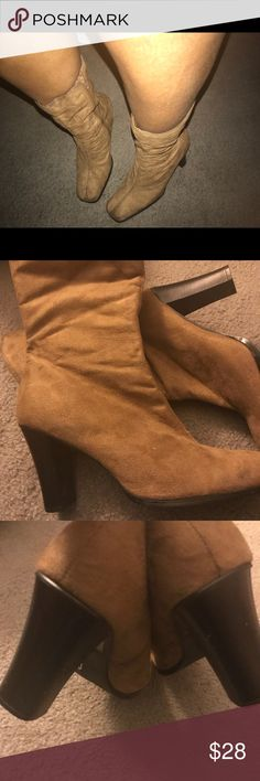 """Suede Chucky Heel Boots 👢💞 Size 9 chunky 3"""" heel worn only once💯 few blemishes on suede as seen in pics in very good condition ❤️ Tan/Taupe color Shoes Ankle Boots & Booties"""