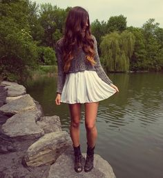 cropped sweater, skirt, and boots