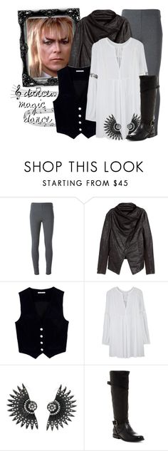 """""""Jareth the Goblin King -- Labyrinth"""" by evil-laugh ❤ liked on Polyvore featuring Ermanno Scervino, H&M, AG Adriano Goldschmied, Frye, women's clothing, women's fashion, women, female, woman and misses"""