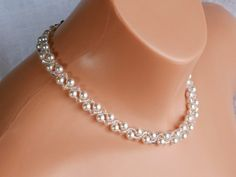 Swarovski Crystal Bridal Necklace,Pearl Bridal Necklace,Crystal Wedding Jewelry Made with Swarovski pearls,Swarovski crystal and Japanese seed beads. Pearls are white. Length 41-42.5 cm.