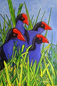Pukeko Painting - In The Long Grass by Anni Morris Bird Applique, New Zealand Art, Tattoo Pain, Nz Art, Kiwiana, Plant Art, Stone Art, Bird Art, Rock Painting
