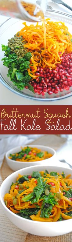 This fall kale salad is bursting with roasted butternut squash, juicy pomegranate seeds, and crunchy pumpkin seeds! It's perfect for holiday dinners. She suggests adding roasted chick peas & Quinoa & I plan to Fall Recipes, Soup Recipes, Cooking Recipes, Thanksgiving Recipes, Healthy Salad Recipes, Healthy Soup, Vegan Recipes, Vegan Foods, Healthy Foods