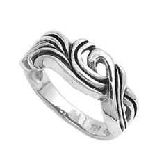 Sterling Silver 9mm Oxidized Filigree Ring