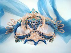 Crocheted Wire Mask   Blu Muse  by dragonswire on Etsy, $145.00