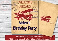 Airplane birthday party Airplane welcome sign vintage