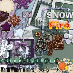 Warm Winter Wishes       This Winter/Xmas kit includes :    - 7 papers  - 4 frames  - 4 WordArts  - 2 cakes  - 1 paperclip  - 5 flowers and stars  - 1 knot  - 1 necklace  - 1 complete cake alpha, including 78 pieces (Uppers, Lowers, Punctuations and Numbers)  - 1 double paintchip.          http://carolineb.fr/index.php?main_page=product_info&products_id=702