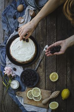 Baked lemon blackberry cheesecake  @andwhatelse