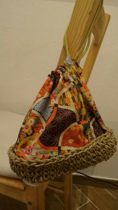 """Hand made bag.  With the cloth from japan which is called as """"chirimen"""""""