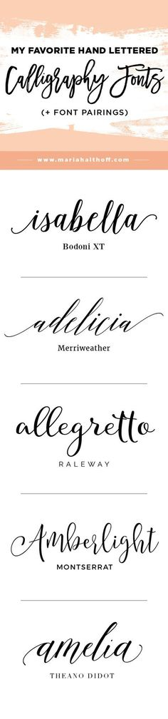 Calligraphy and hand lettering is super trendy these days and goes great with fun, feminine brands as well as weddings and other fancier events. If you have no hand lettering skills, why not download modern calligraphy fonts instead?! #Modern
