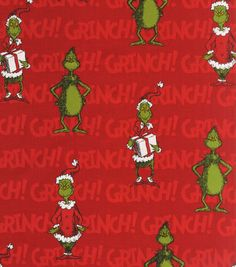 Holiday Inspirations Fabric-Christmas Grinch On Red (Christmas skirt for Grinch pencil tree!)  :)