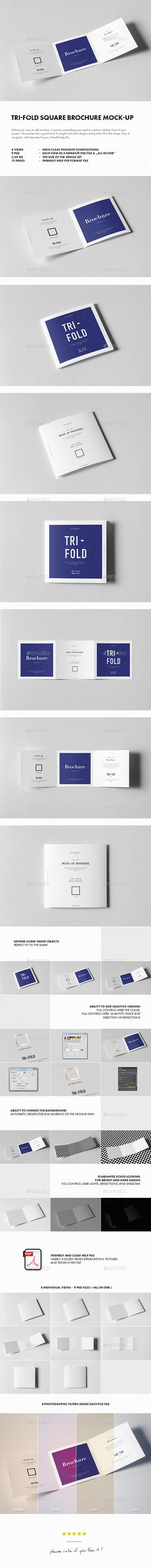 TriFold Square Brochure Mockup — Photoshop PSD #flyer #advertising folder • Available here → https://graphicriver.net/item/trifold-square-brochure-mockup/18126309?ref=pxcr
