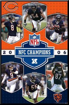 Chicago Bears 2006 NFC Champions Poster Framed NFL Sports Picture