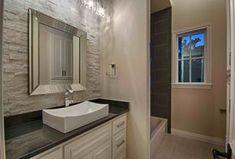 Contemporary Full Bathroom with Drop-In Bathtub, Ceramic Tile, Simple Granite, tiled wall showerbath, specialty tile floors