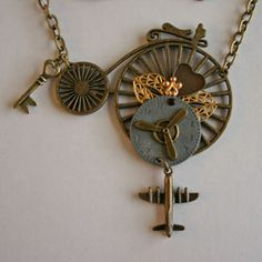 Steampunk bicycle necklace.