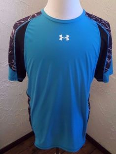Mens Under Armour Fitted Heat Gear Turquoise Shirt Sz X Large EUC #UnderArmour #FittedHeatGearShirt