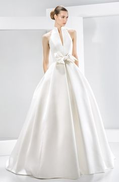 Women's Jesús Peiró Bow Detail Satin Halter Dress