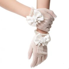 10 Pair Kids Girls Performance Gloves Sweet Party Show Costume Accessories White