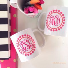 """""""These bright pink pom-pom mugs are so perfect & cheery for spring! Use coupon code SPRING20 for 20% off your mug purchase in my shop! Hurry, the offer is…"""""""