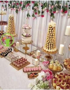 Dessert table, candy table and cake table dessert display table, candy Wedding Cake Table Decorations, Quinceanera Decorations, Wedding Desserts, Wedding Cupcakes, Wedding Candy Table, Sweet Table Wedding, Desk Decorations, Bridal Shower Desserts, Quinceanera Ideas