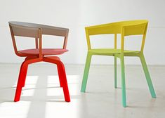 Werner Aisslinger's Bikini Wood dining chair and swivel chair for Moroso come in a variety of bold colour gradients