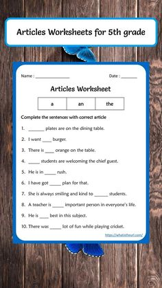 Articles Worksheets for 5th grade