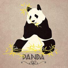 "Panda Print Original Design Animal Alphabet Poster Art Deco Vintage 1940's Childrens Baby Nursery 7x7"" Square Cute Beautiful Retro"