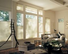Create living room comfort with a neutral color palette, the diffusion of natural light and the added benefit of energy efficiency ––Alustra® Duette® honeycomb shades ♦ Hunter Douglas window treatments Types Of Window Treatments, Window Treatments Living Room, Living Room Windows, Living Rooms, Apartment Living, Living Spaces, Hunter Douglas, Honeycomb Blinds, Honeycomb Shades