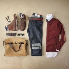 Mondaynothing a pair of boots cant fix. Boots: Smooth Waxy Mohawk Bag: Bazemore 1897 Denim: Territory Slub SK Oxford: Stitch Sweater: NY Tie: Tie Bar Watch: Socks: Belt: Glass Case: Glasses: KIND by Mode Outfits, Casual Outfits, Men Casual, Fashion Outfits, Sunday Outfits, Smart Casual, Sport Outfits, Casual Wear, Fall Outfits