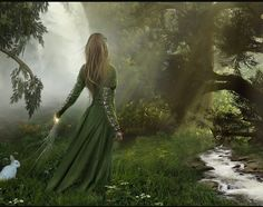 girl, fantasy, and forest image