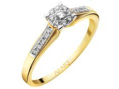 Pierścionek z żółtego złota z brylantami | Apart