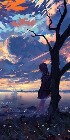 Pin by mockup design on art in 2019 anime art, anime scenery, art. Anime Landscape, Fantasy Landscape, Landscape Art, Anime Sunset, Sky Anime, Anime Kızları, Anime Scenery Wallpaper, Landscape Wallpaper, Aesthetic Art