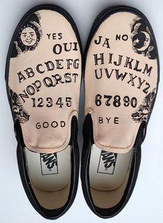 Ouija Board Hand Painted Shoes Custom Vans Slipons Goth Gift Spiritual Occult Ideas Halloween Fashio - All About Painted Canvas Shoes, Custom Painted Shoes, Painted Vans, Hand Painted Shoes, Painted Clothes, Vans Customisées, Tenis Vans, Vans Men, Adidas Shoes