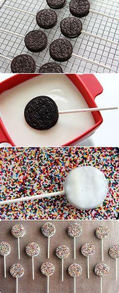 White Chocolate Oreo Pops cookies chocolate desert diy recipe oreos recipes desert recipes cookie recipes easy recipes easy diy diy food recipes for kids