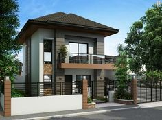 Alberto is a two-storey house design that can be fitted in a not so big lot area. The ground floor is m², while the second floor occupied by bedrooms is m².A convenient porch welcomes the house with the dining and kitchen directly situated stra Two Story House Design, 2 Storey House Design, Two Story House Plans, Small House Design, Modern House Design, Style At Home, Philippines House Design, Bungalow Haus Design, Modern Bungalow