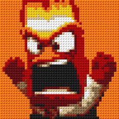 Inside Out Anger Portrait LEGO® Mosaic by CreativeSquareStudio